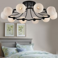 10-Light Black Wrought Iron Chandelier with Glass Shades (DK-1041-10)