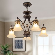 5-Light Black Wrought Iron Chandelier with Glass Shades (DK-1001-5X)