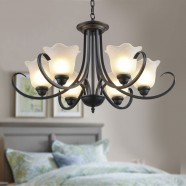 6-Light Black Wrought Iron Chandelier with Glass Shades (DK-8019-6)