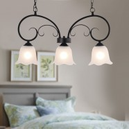 3-Light Black Wrought Iron Pendant Light with Glass Shades (DK-8019-3P)