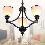3-Light Black Wrought Iron Chandelier with Glass Shades (DK-5308-3S)