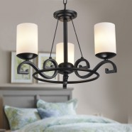 3-Light Black Wrought Iron Chandelier with Glass Shades (DK-8020-3)