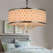 6-Light Crystal Iron Ceiling Light with Fabric Shade (DK-RL1085)