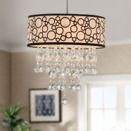 4-Light Modern Crystal Iron Chandelier with Fabric Shade (DK-RL7892)