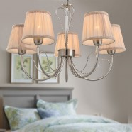 5-Light Silver Iron Modern Chandelier with Fabric Shades (HKP31263-5)