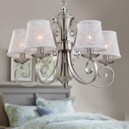 5-Light Silver Iron Modern Chandelier with Fabric Shades (HKP31269-5)