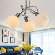 3-Light Chrome Iron Modern Chandelier with Glass Shades (HKC31391-3)