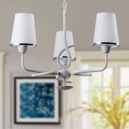 3-Light White Iron Modern Chandelier with Glass Shades (KD1202-3)