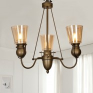 3-Light Copper Iron Modern Chandelier with Glass Shades (HKP31252-3)