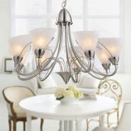 8-Light Silver Iron Modern Chandelier with Glass Shades (HKP31262-8)