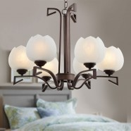 6-Light Bronze Iron Modern Chandelier with Glass Shades (HKP31255-6)