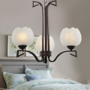 3-Light Bronze Iron Modern Chandelier with Glass Shades (HKP31255-3)