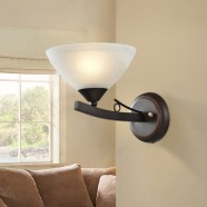 1-Light Brown Iron Wall Sconce with Glass Shades (HKW31288-1)
