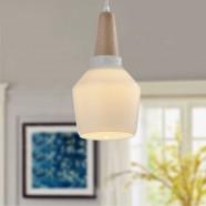 1-Light White Wood/Glass Modern Pendant Light (KP10512-1)