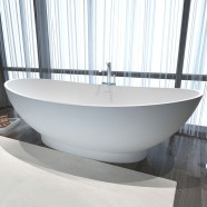 71 In Double Slipper Man-made Stone Freestanding Bathtub - Matte White (DK-HA8620)