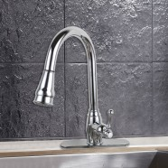 Chrome Finished Brass Kitchen Faucet - Pull Out Spray Head (D007CH)