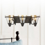 3-Light Iron Wall Sconce with Fabric Shade (HKC704-3)