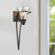 1-Light Iron Wall Sconce with Fabric Shade (HKW704-1)