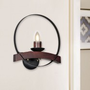 1-Light Circular Iron/Glass Vintage Wall Sconce (HKW31251-1A)