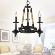 3-Light Rope Iron Chandelier (8809-D3)