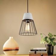 1-Light Iron/Cement Cage Pendant Light (HKP31357-1)