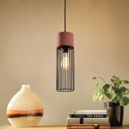 1-Light Iron/Cement Cage Pendant Light (HKP31356A-1)
