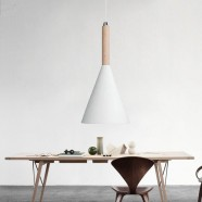 1-Light White Iron Modern Pendant Light (HYMU1211A-1)