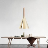 1-Light Gold Iron Modern Pendant Light (HYMU1211B-1)
