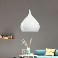 1-Light White Iron Modern Pendant Light (HYMUP1210B-1)
