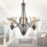 3-Light Iron Chandelier with Fabric Shade (HKP704-3)