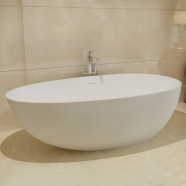 67 In Oval Synthetic Stone Freestanding Bathtub - Matte White (DK-HA8608)