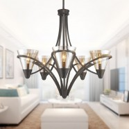 5-Light Iron Chandelier with Fabric Shade (HKP704-5)