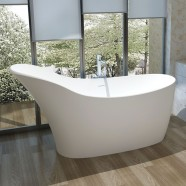 67 In Slipper Man-made Stone Freestanding Bathtub - Matte White (DK-HA8613)