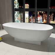 71 In Oval Man-made Stone Freestanding Bathtub - Matte White (DK-HA8616)