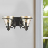 2-Light Iron Wall Sconce with Fabric Shade (HKW704-2)