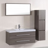 40 In. Wall Mount Bathroom Vanity Set with Single Sink and Mirror and Cabinet (DK-T5167A-SET)