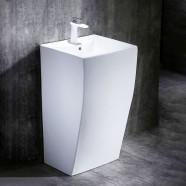 White Square Ceramic Pedestal Sink (CL-6002)
