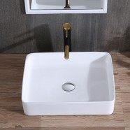 White Rectangle Ceramic Above Counter Basin (CL-1321)