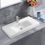 White Rectangle Ceramic Bathroom Vanity Basin (CL-4038-90)