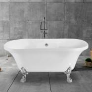 60 In Clawfoot Freestanding Bathtub - Acrylic Pure White (DK-PW-A12601)