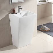 White Square Ceramic Pedestal Sink (CL-6012)