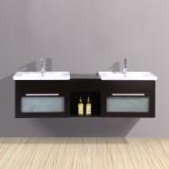 60 In. Espresso Pylwood Double Vanity (DK-T9118-V)