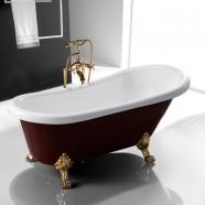 67 In Clawfoot Freestanding Bathtub - Acrylic Wine Red (DK-SLD-YG851)