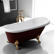 67 In Clawfoot Freestanding Bathtub - Acrylic Wine Red (DK-SLD-YG851)