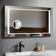 40 x 28 In Horizontal LED Bathroom Mirror with Circular Magnifier and Touch Button (DK-CK208F)