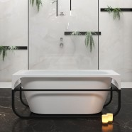 BATHPRO 59 In High-end Freestanding Bathtub - Acrylic Matte White (DK-MF-126575)
