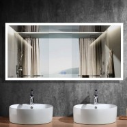 DECORAPORT 84 x 40 Inch LED Bathroom Mirror/Dress Mirror with Touch Button, Anti Fog, Dimmable, Horizontal Mount (NT01-8440)