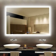 Decoraport 55 x 36 In LED Bathroom Mirror with Touch Button, Anti-Fog, Dimmable, Vertical & Horizontal Mount (N031-5536-TS)