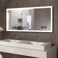 Decoraport 55 x 28 In LED Bathroom Mirror with Touch Button, Bluetooth, Time Display, Anti-Fog, Dimmable, Vertical & Horizontal Mount (N031-5528-TX)