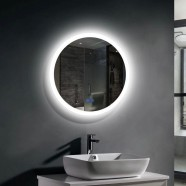 Decoraport 24 x 24 In LED Bathroom Mirror with Touch Button, Anti-Fog, Dimmable, Vertical Mount (CL065-2424-TS)